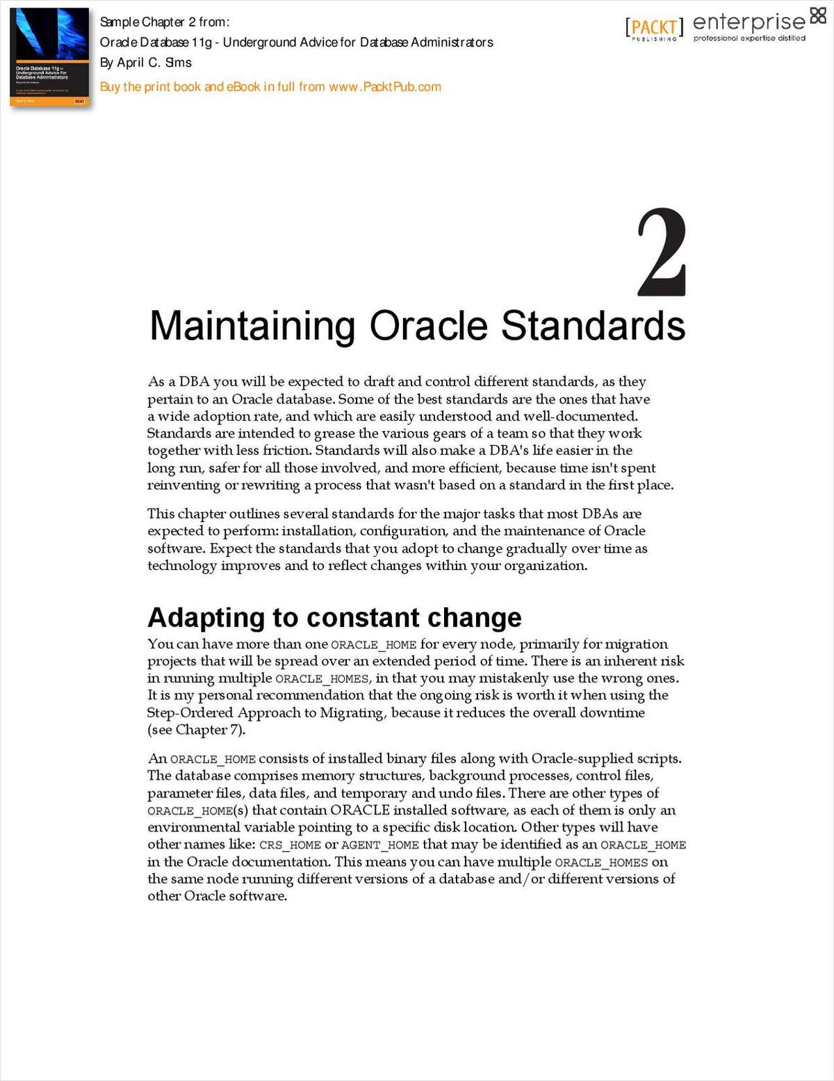 Maintaining Oracle Standards - Free Chapter from Oracle Database 11g - Underground Advice for Database Administrators