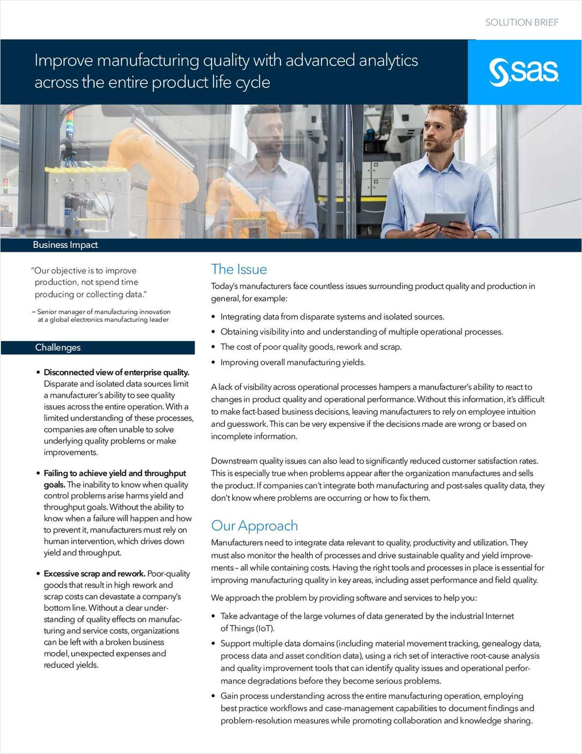 Improve manufacturing quality with advanced analytics across the entire product life cycle