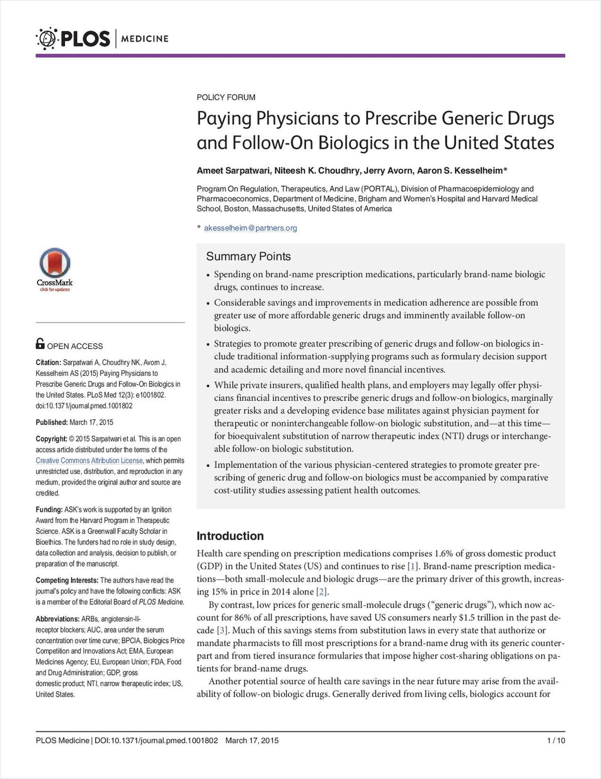 Paying Physicians to Presribe Generic Drugs and Follow-On Biologics in the United States