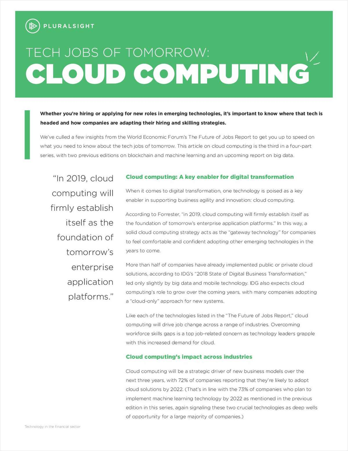 Tech Job of Tomorrow: Cloud Computing, Free Pluralsight Article