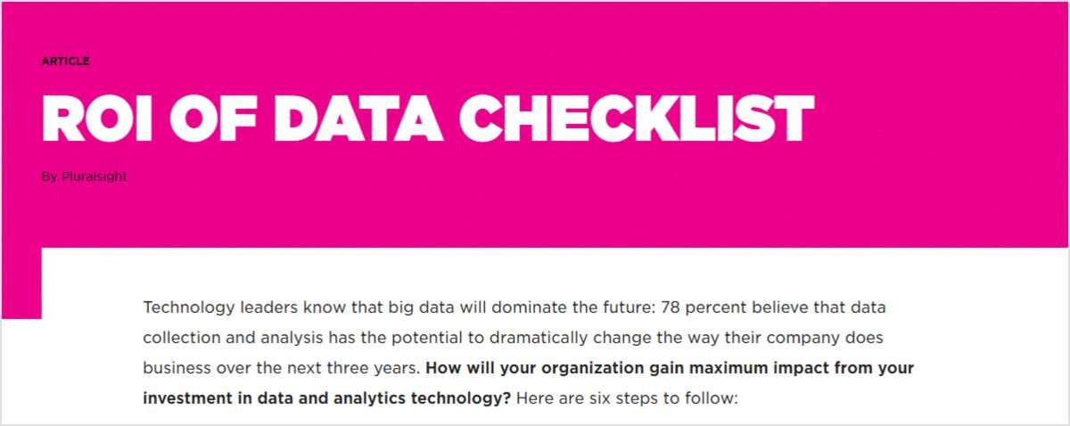 Data Checklist for ROI