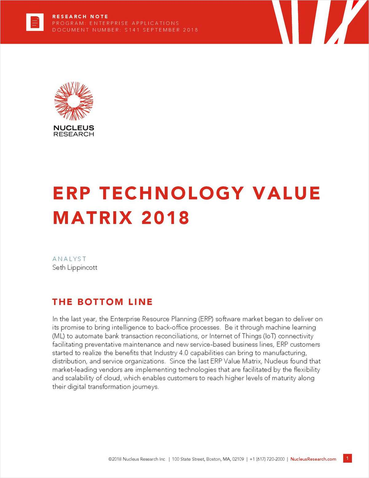 Nucleus Research's 2018 ERP Value Matrix