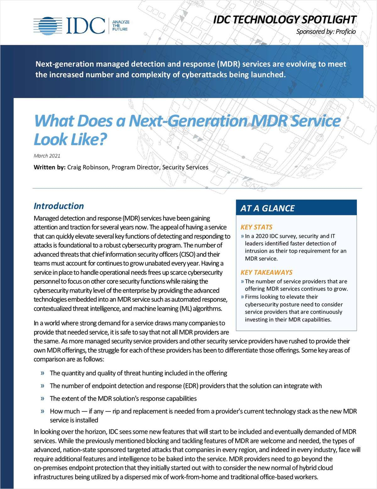 What Does a Next-Generation MDR Service Look Like? -  IDC Technology Spotlight