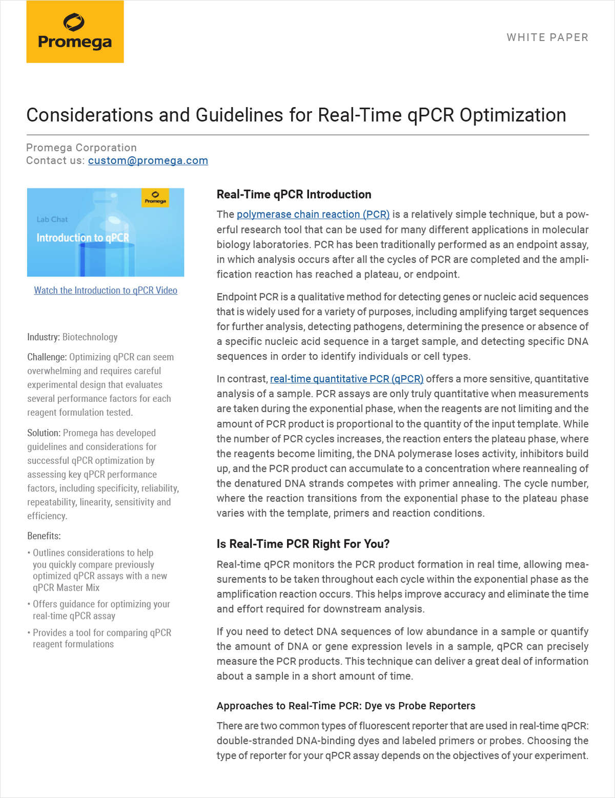 Considerations and Guidelines for Real-Time qPCR Optimization
