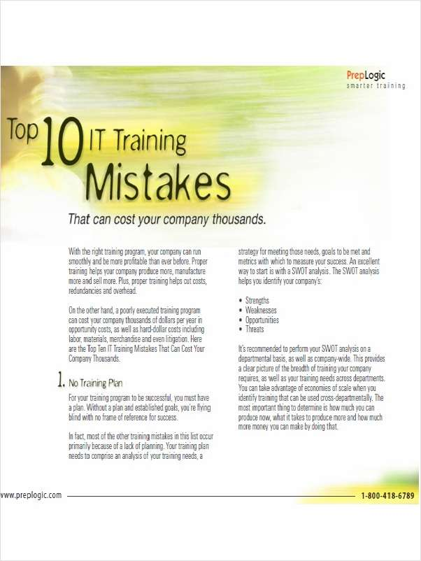 Top Ten IT Training Mistakes That Can Cost Your Company Thousands