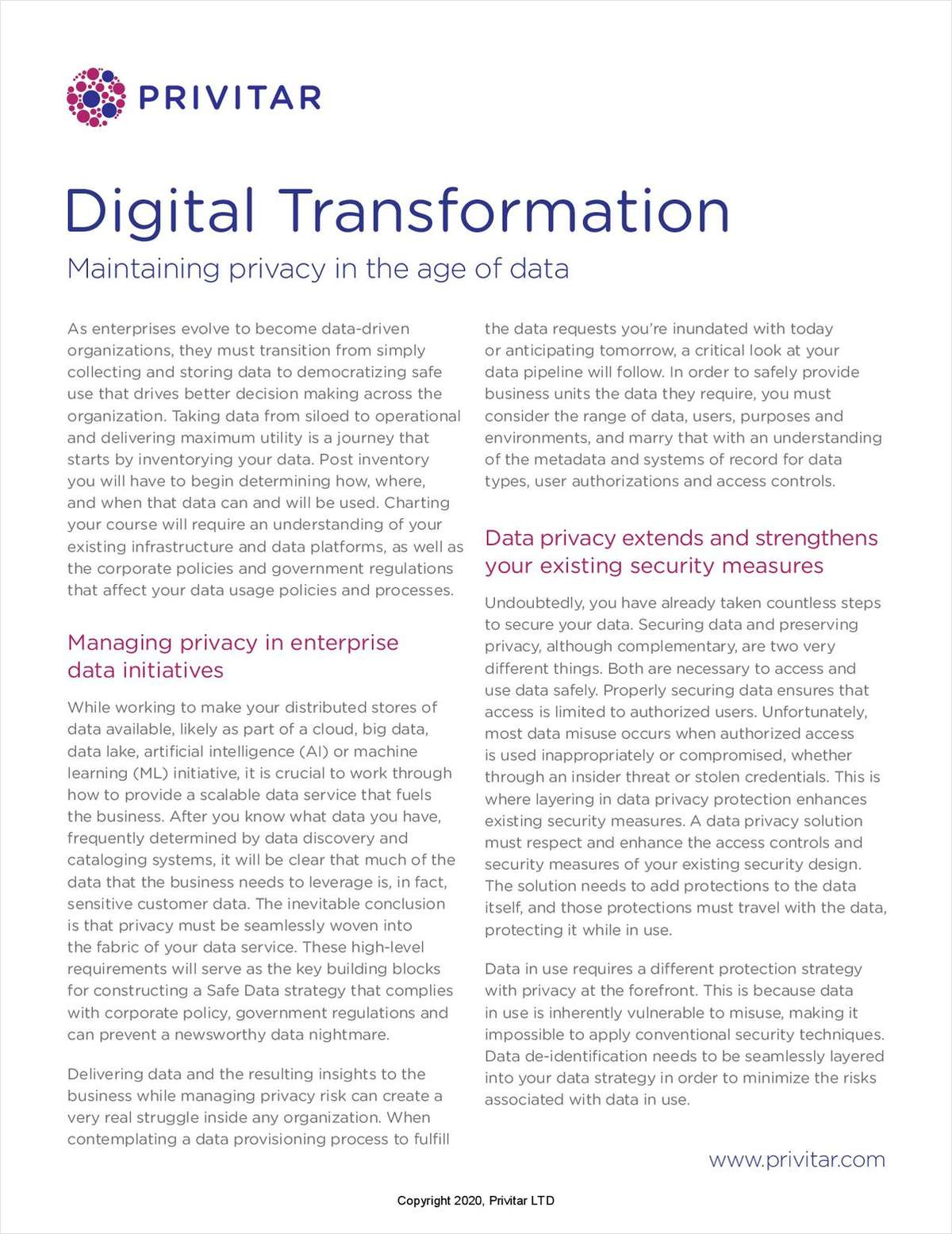 Digital Transformation: Maintaining Privacy in the Age of Data