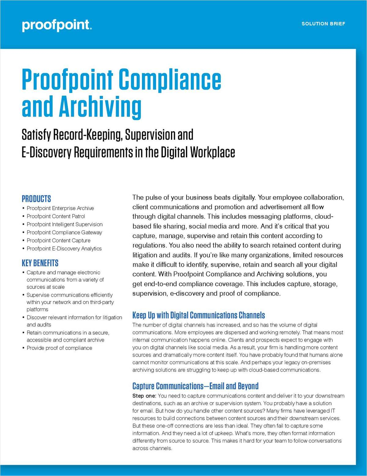 Satisfy Record-Keeping, Supervision and E-Discovery Requirements in the Digital Workplace