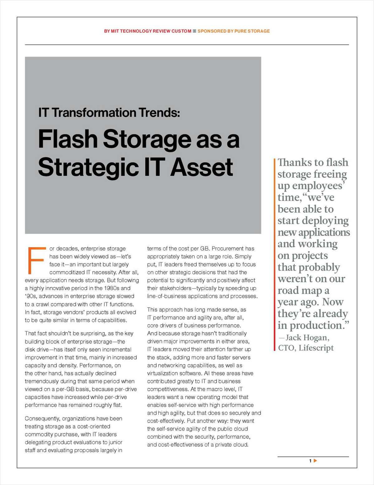 MIT Technology Review: Flash Storage As a Strategic IT Asset