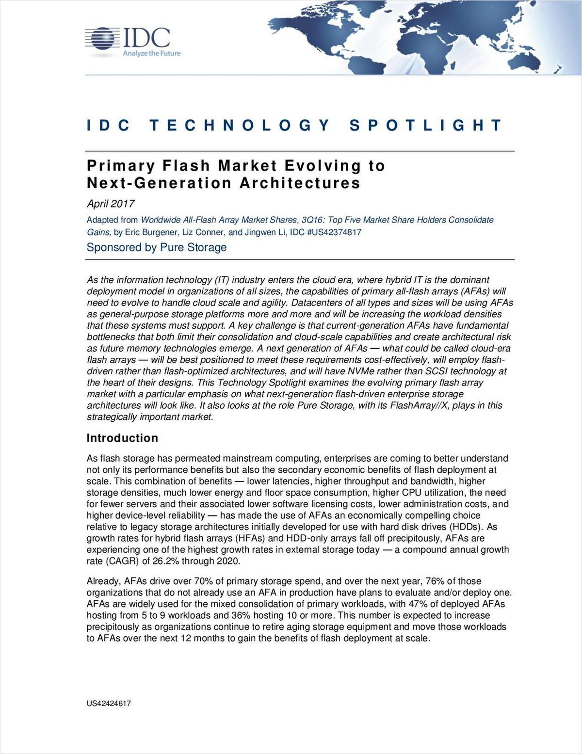 IDC'S Perspective on How Primary Flash Market is Evolving to Next-Generation Architectures