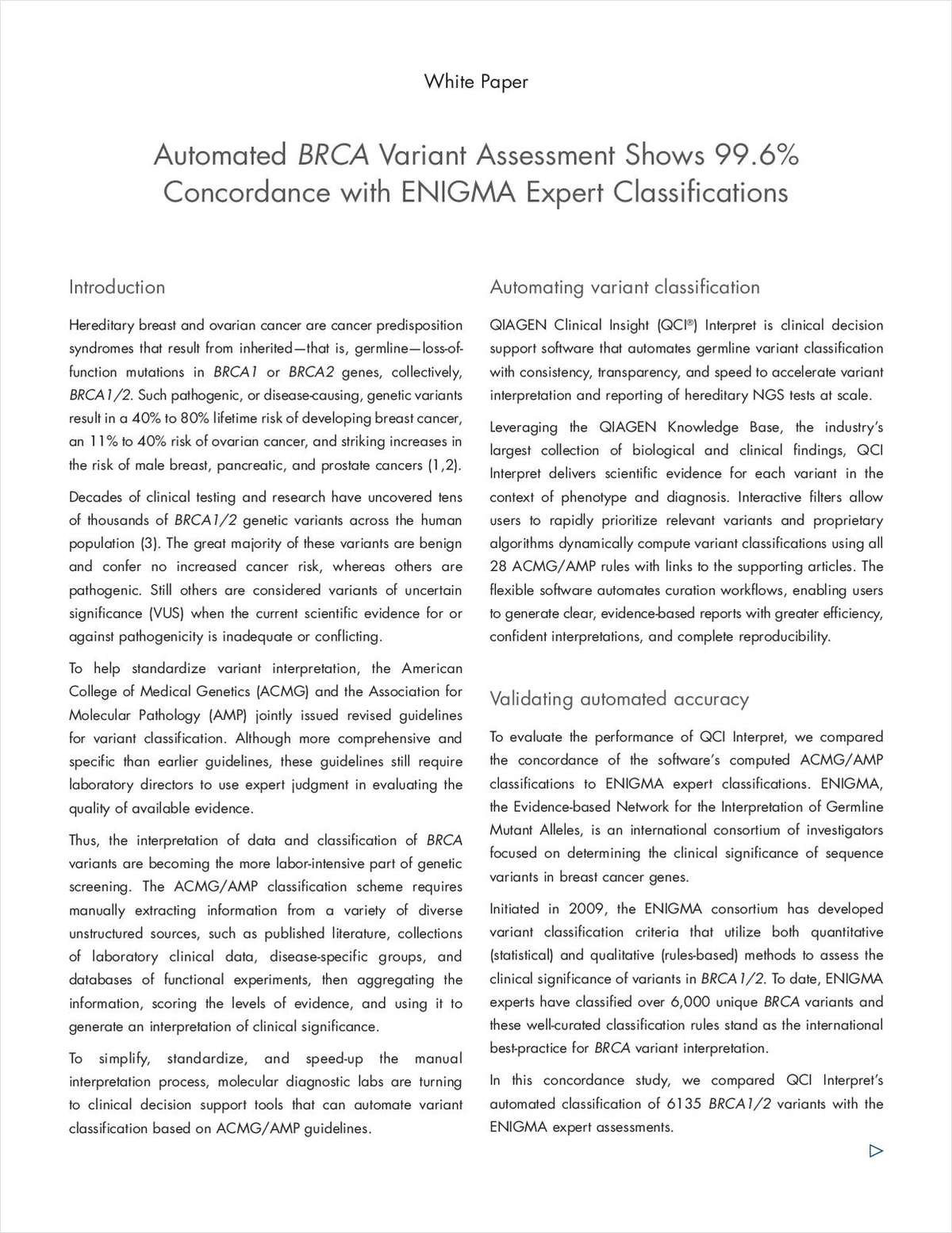 Automated BRCA Variant Assessment Shows 99.6% Concordance with ENIGMA Expert Classifications