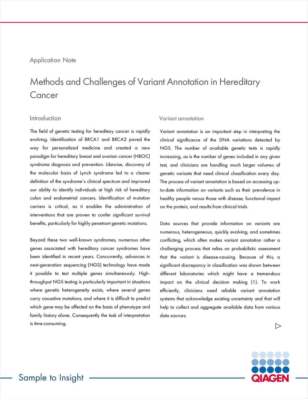 Methods and Challenges of Variant Annotation in Hereditary Cancer