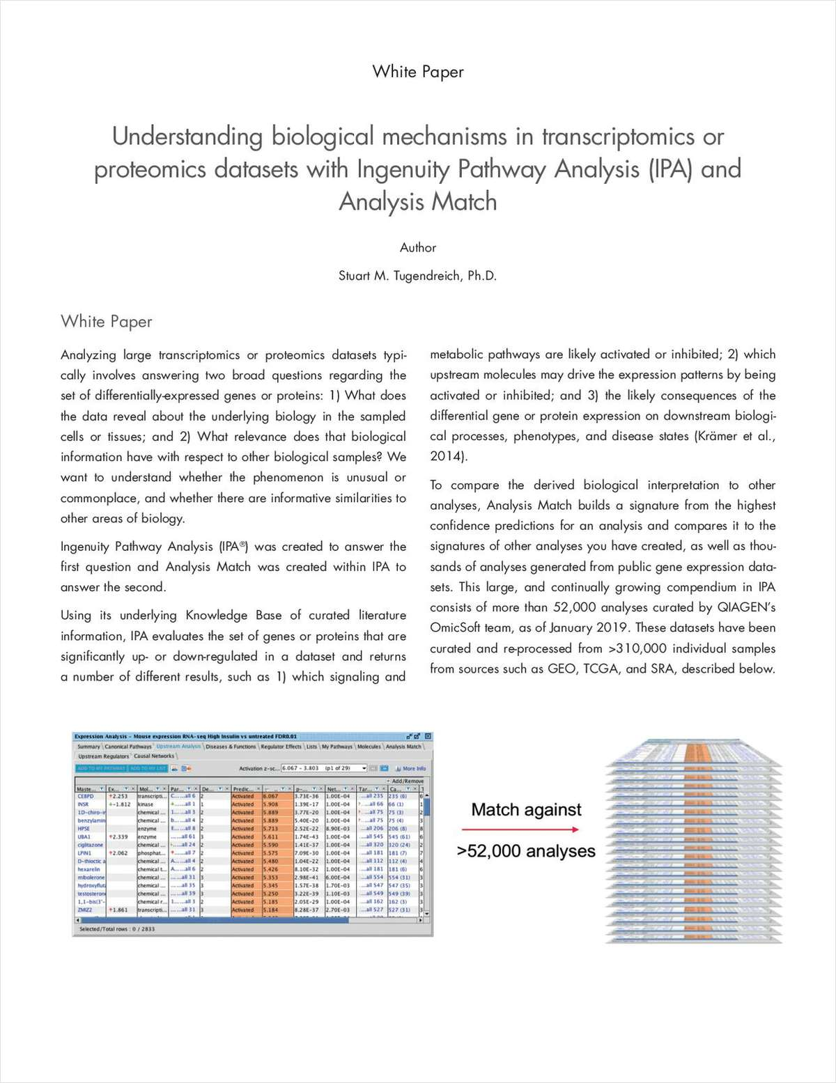 Understanding Biological Mechanisms in Transcriptomics or Proteomics Datasets with Ingenuity Pathway Analysis (IPA) and Analysis Match