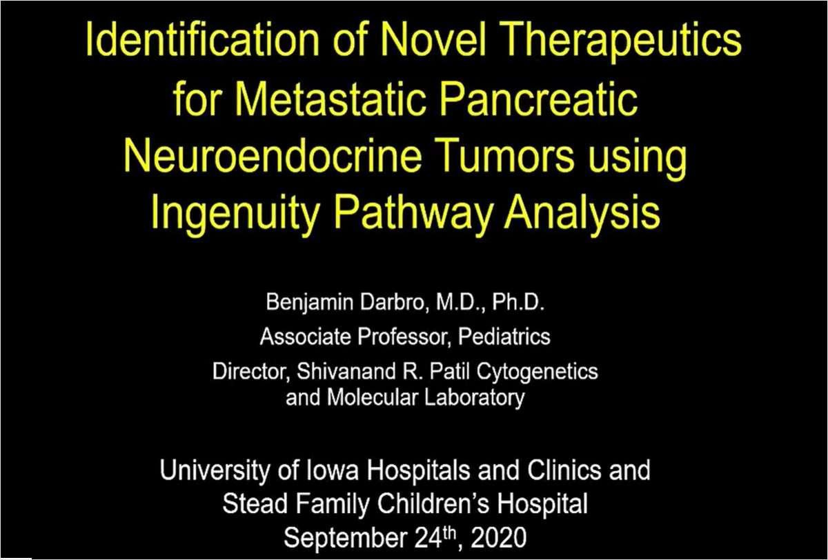 Identification of Novel Therapeutics for Metastatic Pancreatic Neuroendocrine Tumors using IPA