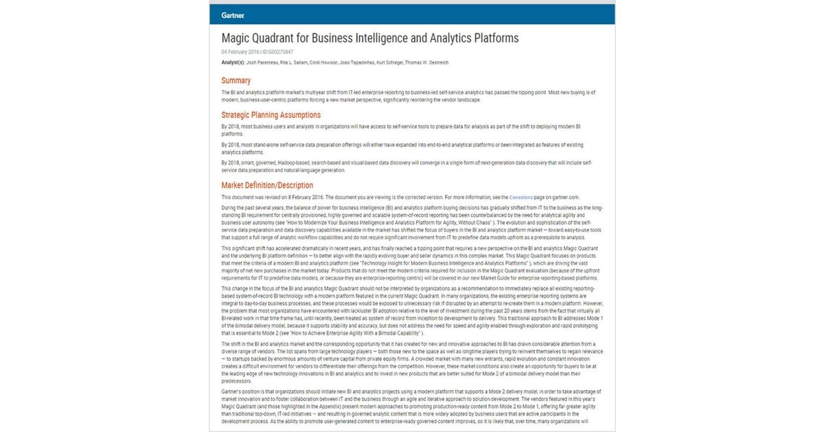 magic quadrant for business intelligence and analytics platforms 2016 pdf