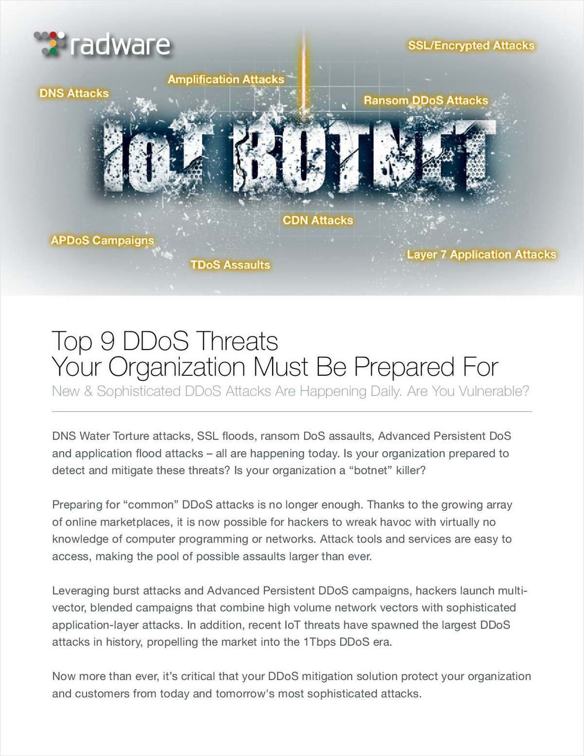 Top 9 DDoS Threats Your Organization Must Be Prepared For