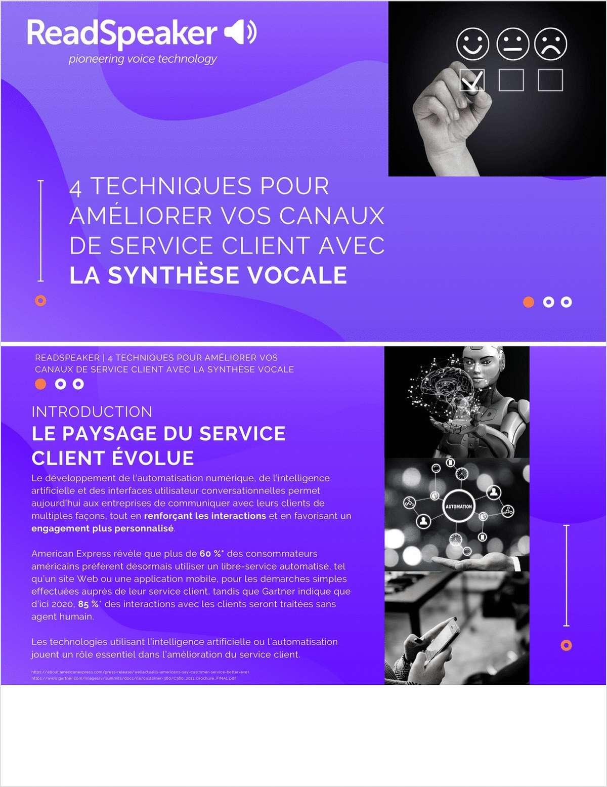 4 TECHNIQUES POUR  AMÉLIORER VOS CANAUX  DE SERVICE CLIENT AVEC  LA SYNTHÈSE VOCALE