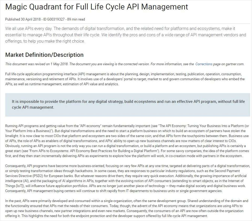 Gartner Report - API Management Quadrants
