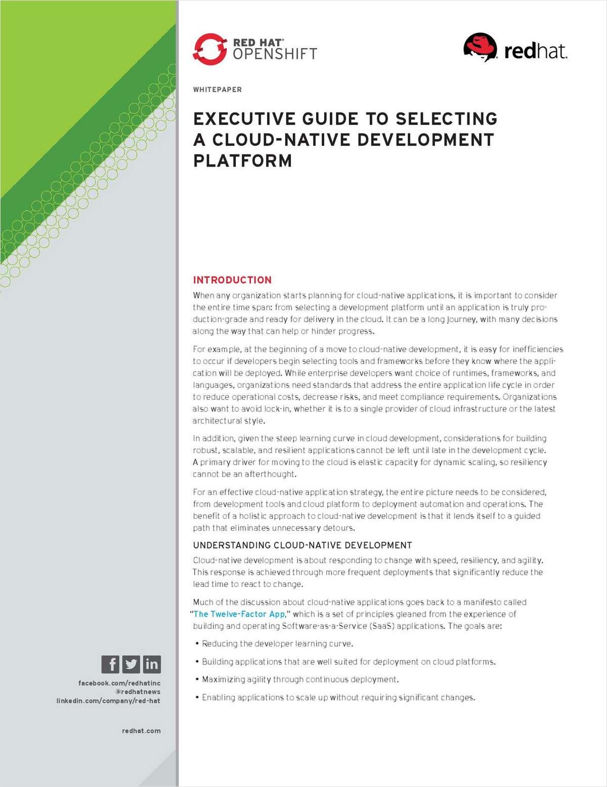 Executive Guide to Selecting a Cloud-Native Development Platform