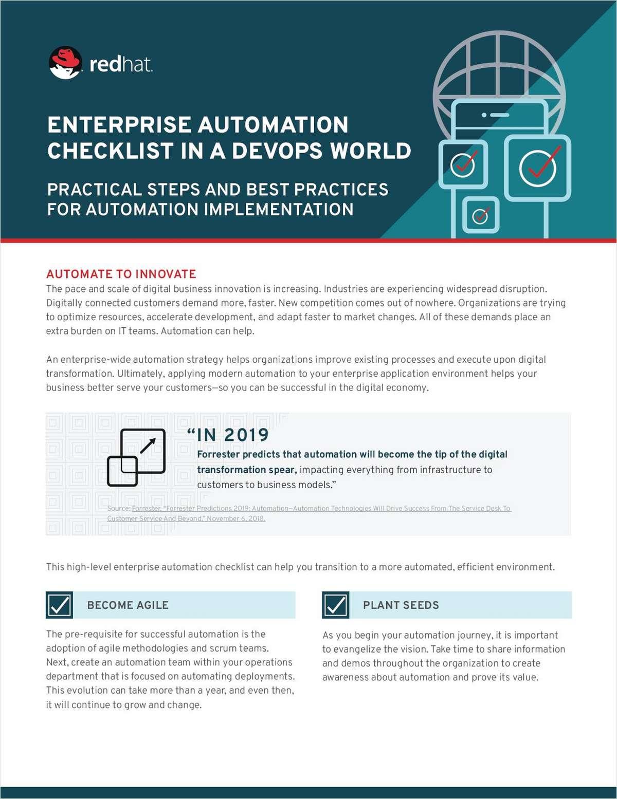 Enteprise Automation Checklist In A DevOps World, Free Red