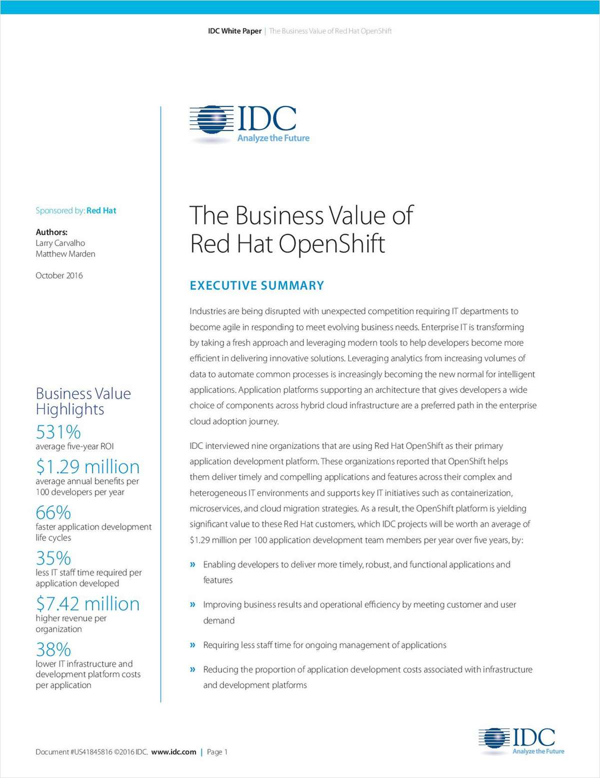 IDC: The Business Value of Red Hat OpenShift