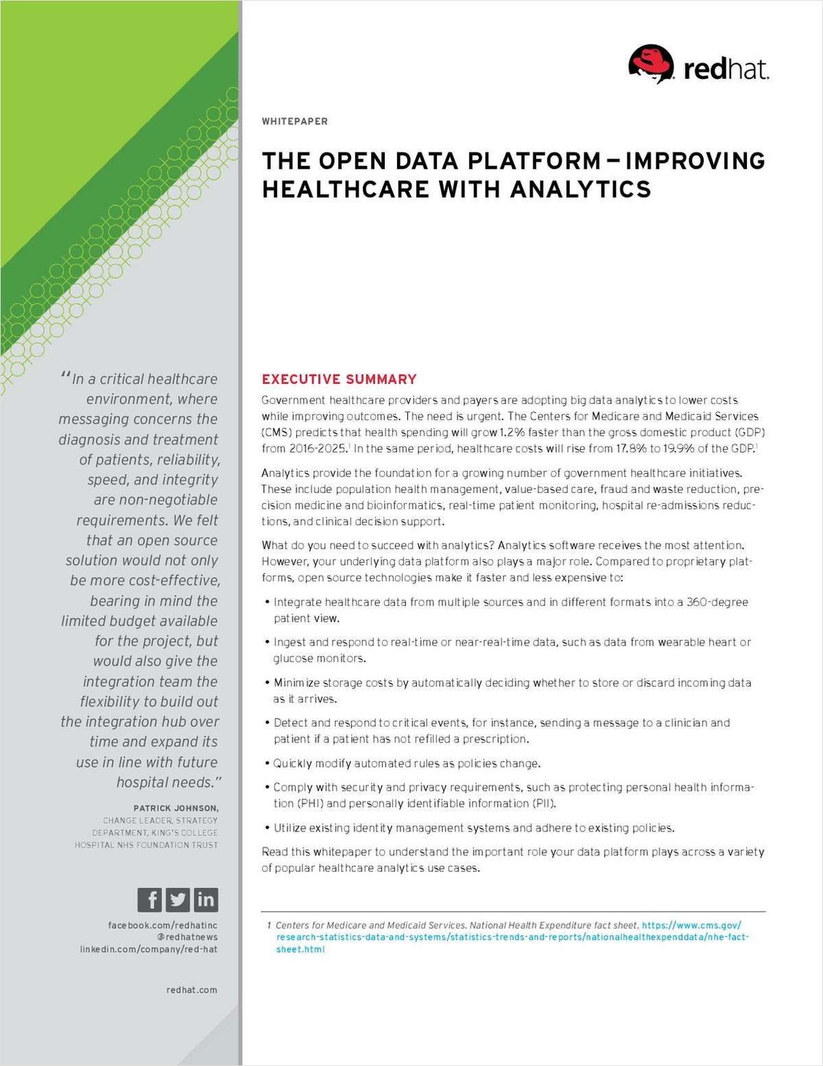 The Open Data Platform--Improving Healthcare with Analytics