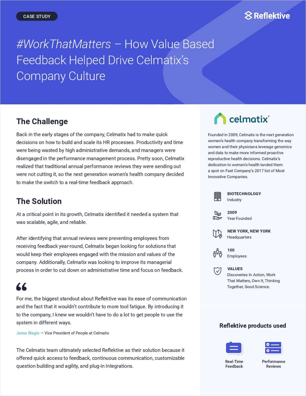 #WorkThatMatters -- How Value Based Feedback Helped Drive Celmatix's Company Culture