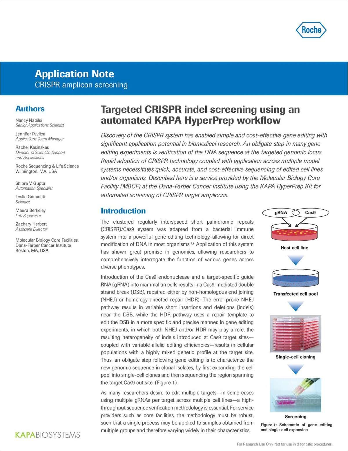 Targeted CRISPR Indel Screening Using an Automated KAPA HyperPrep Workflow