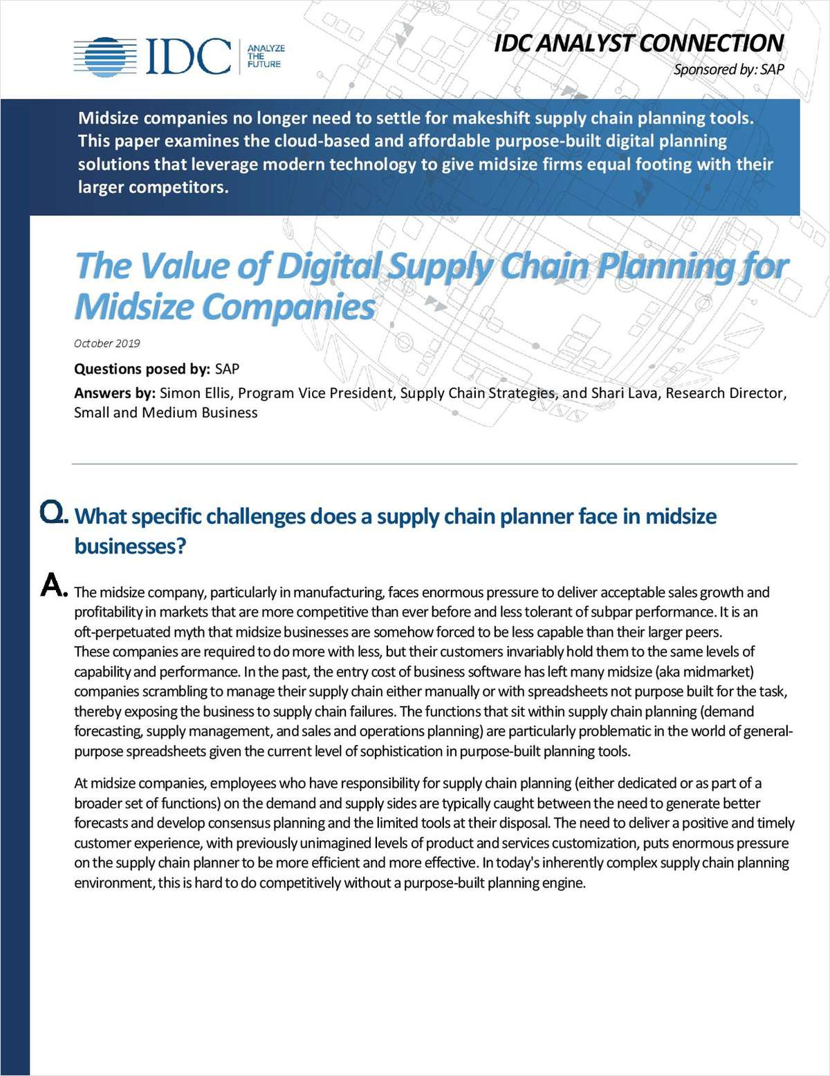 The Value of Digital Supply Chain Planning for Midsize Companies