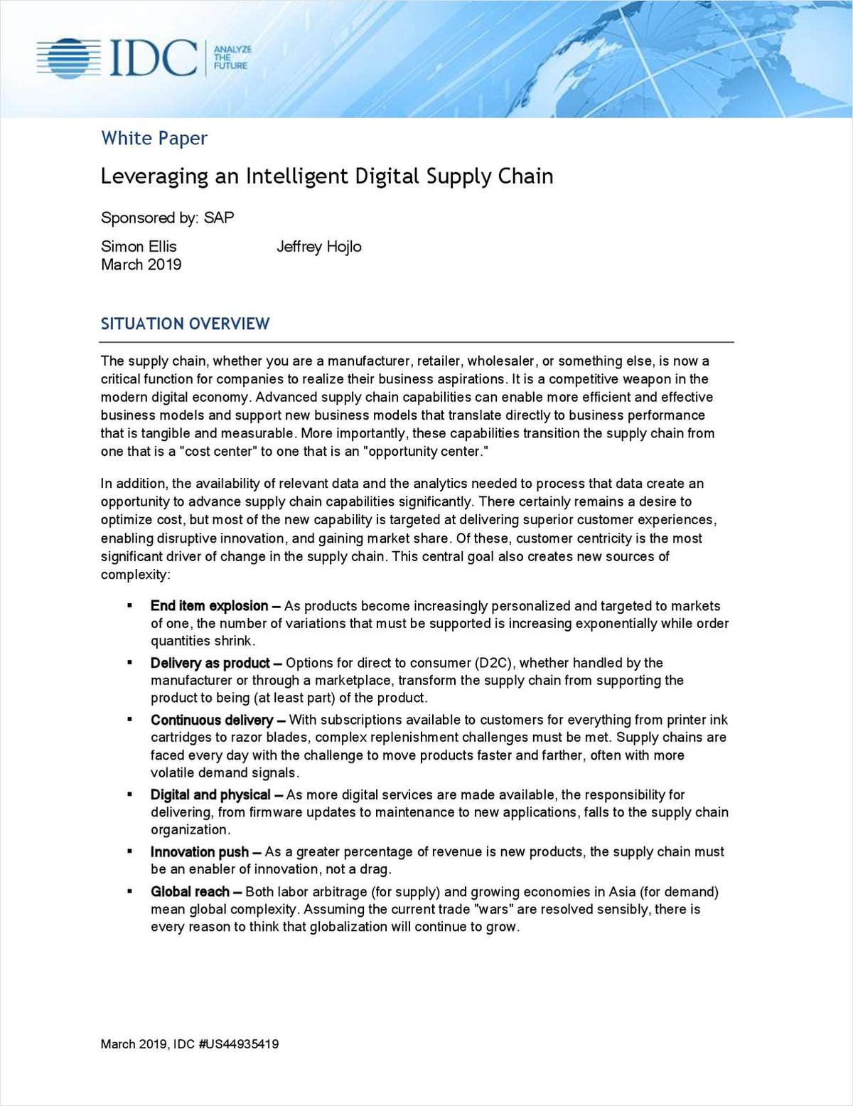 IDC Design to Operate -- Leveraging an Intelligent Digital Supply Chain