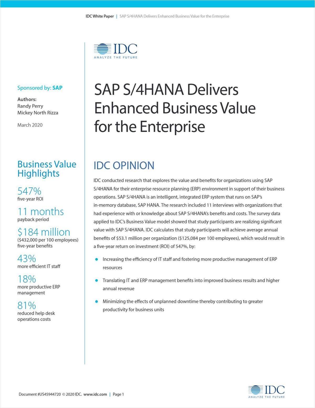 SAP S/4HANA Delivers Enhanced Business Value for the Enterprise