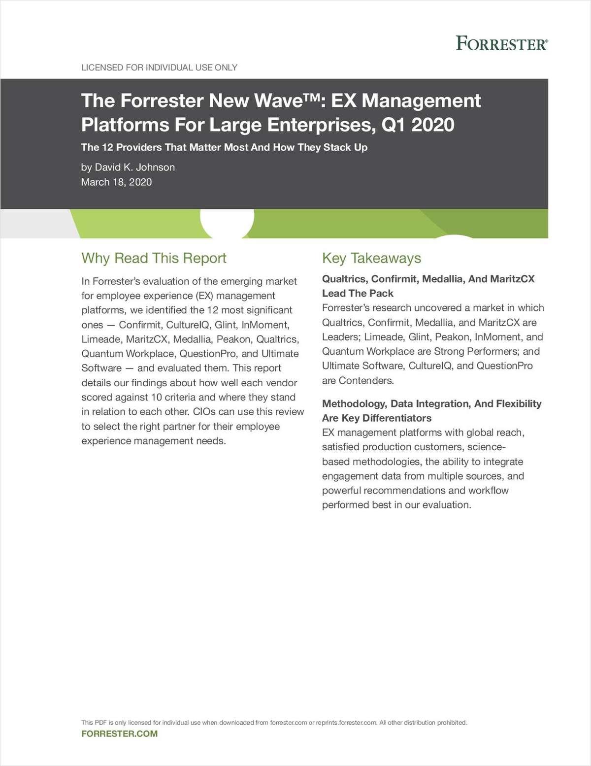 The Forrester Wave™: EX Management Platforms For Large Enterprises, Q1 2020