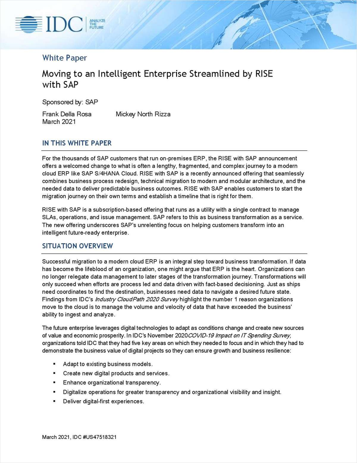 Moving to an Intelligent Enterprise Streamlined by RISE with SAP
