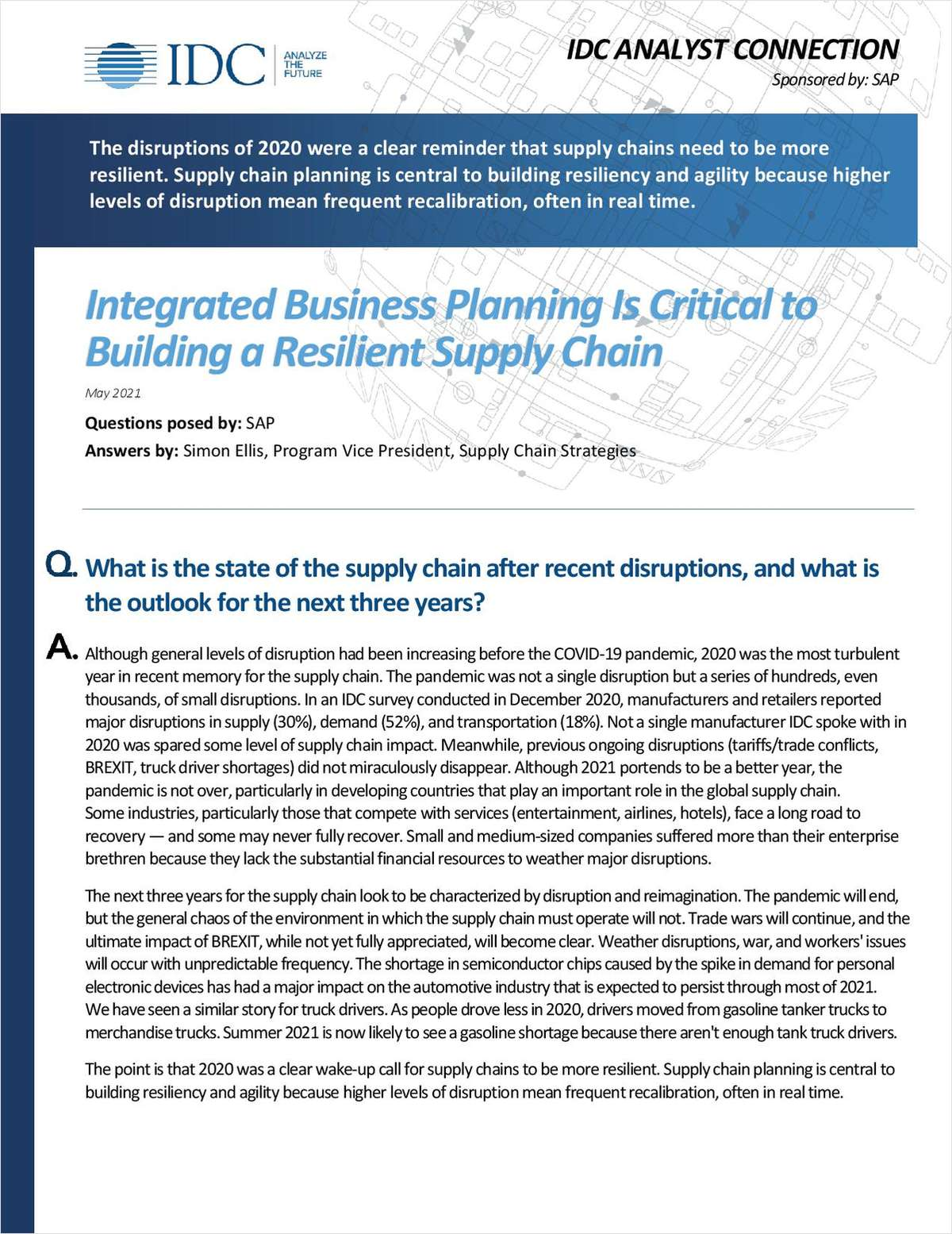 Integrated Business Planning Is Critical to Building a Resilient Supply Chain