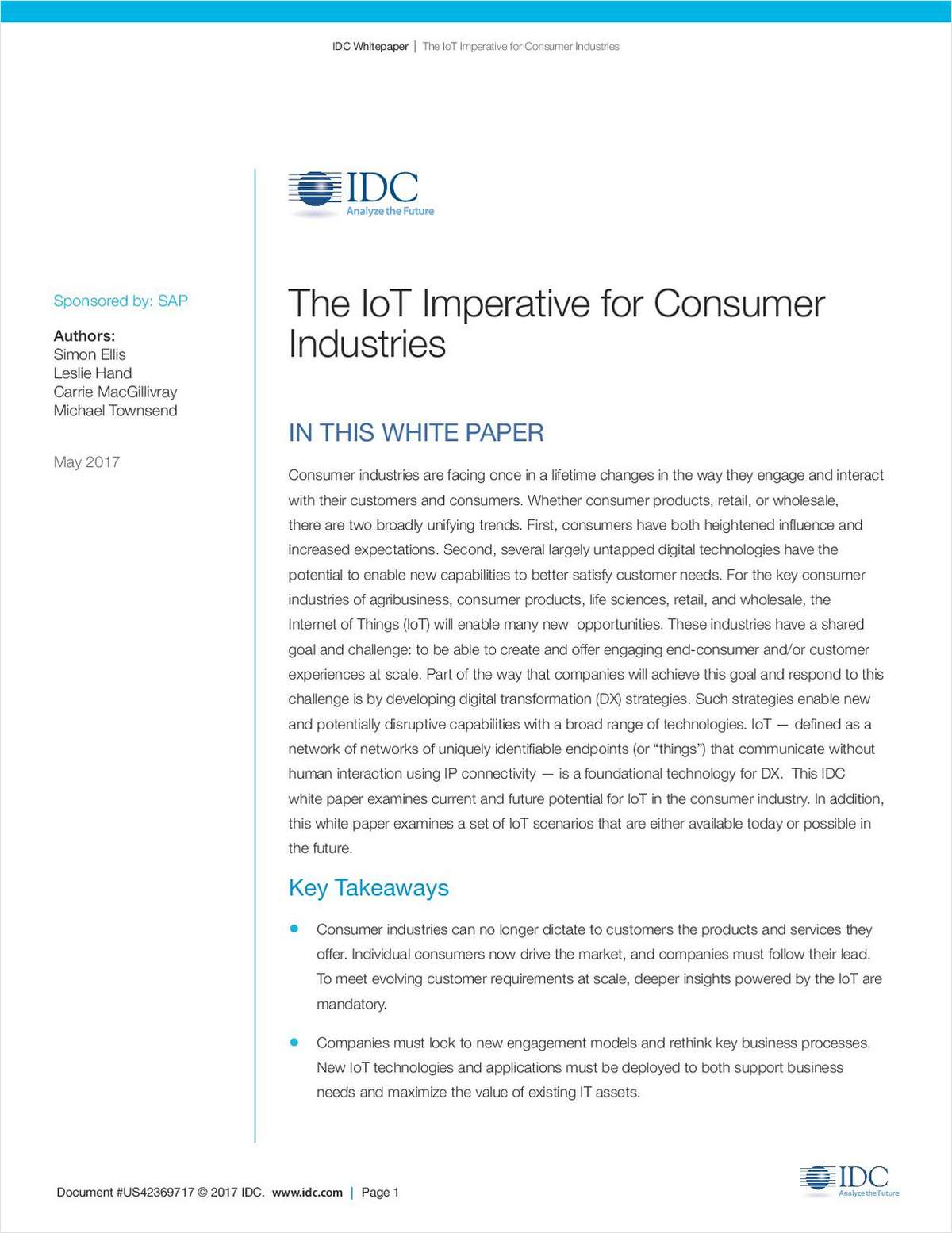 The IoT Imperative for Consumer Industries