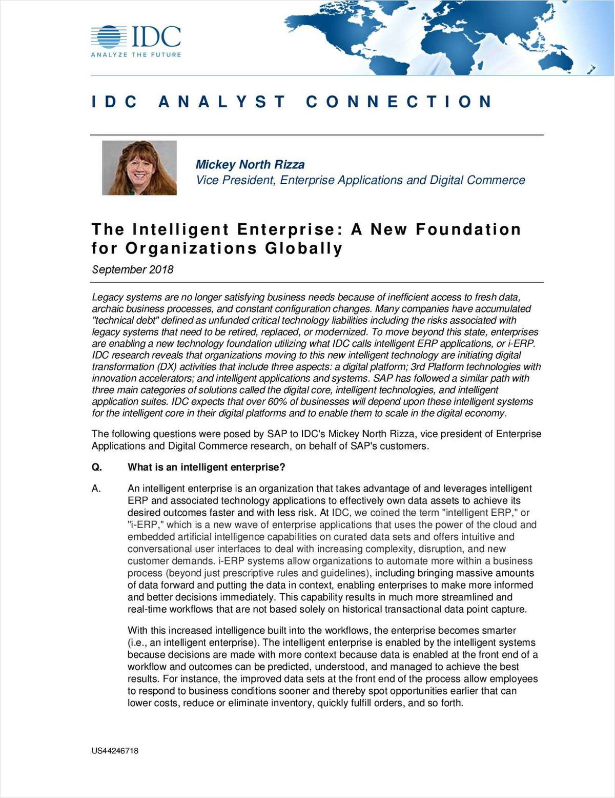 The Intelligent Enterprise : A New Foundation for Organizations Globally