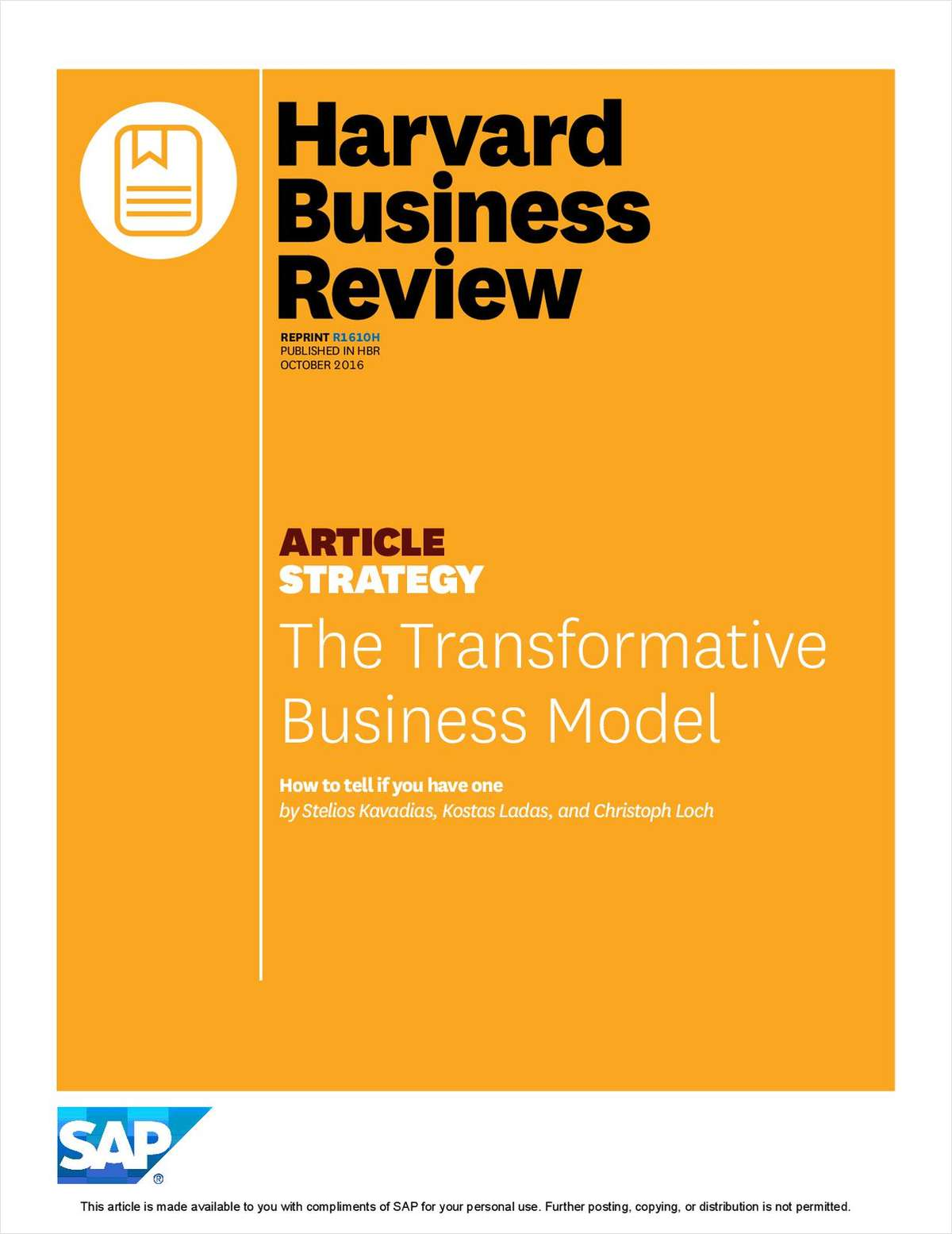 Harvard Business Review: The Transformative Business Model