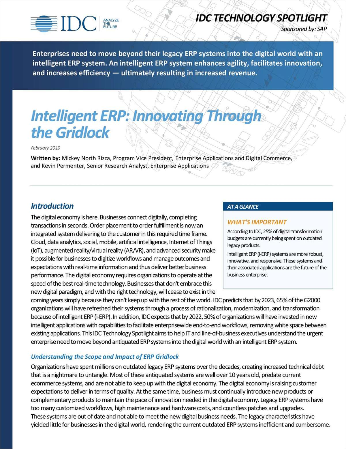 Intelligent ERP: Innovating Through the Gridlock (IDC)