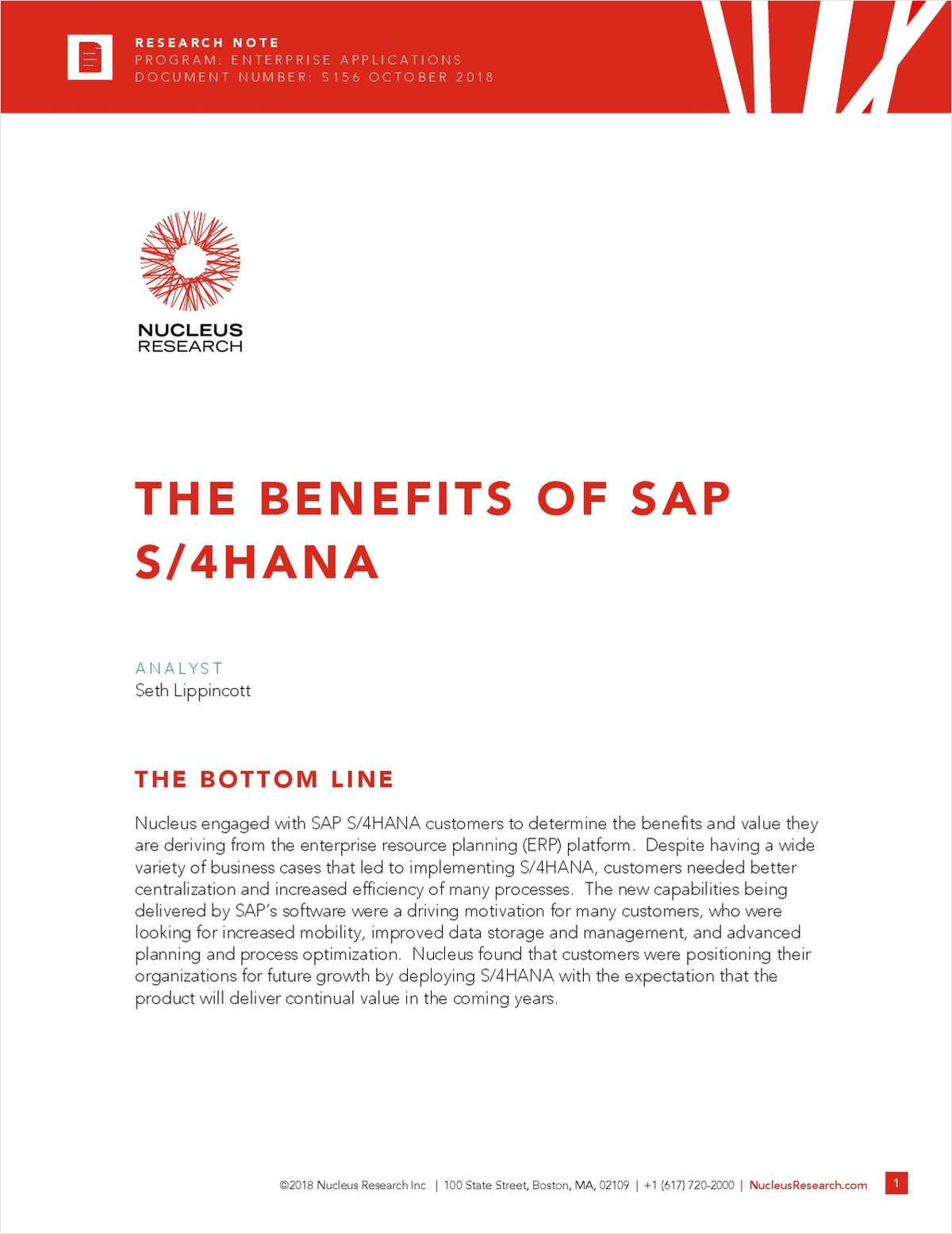 Nucleus Research: The Benefits of SAP S/4HANA