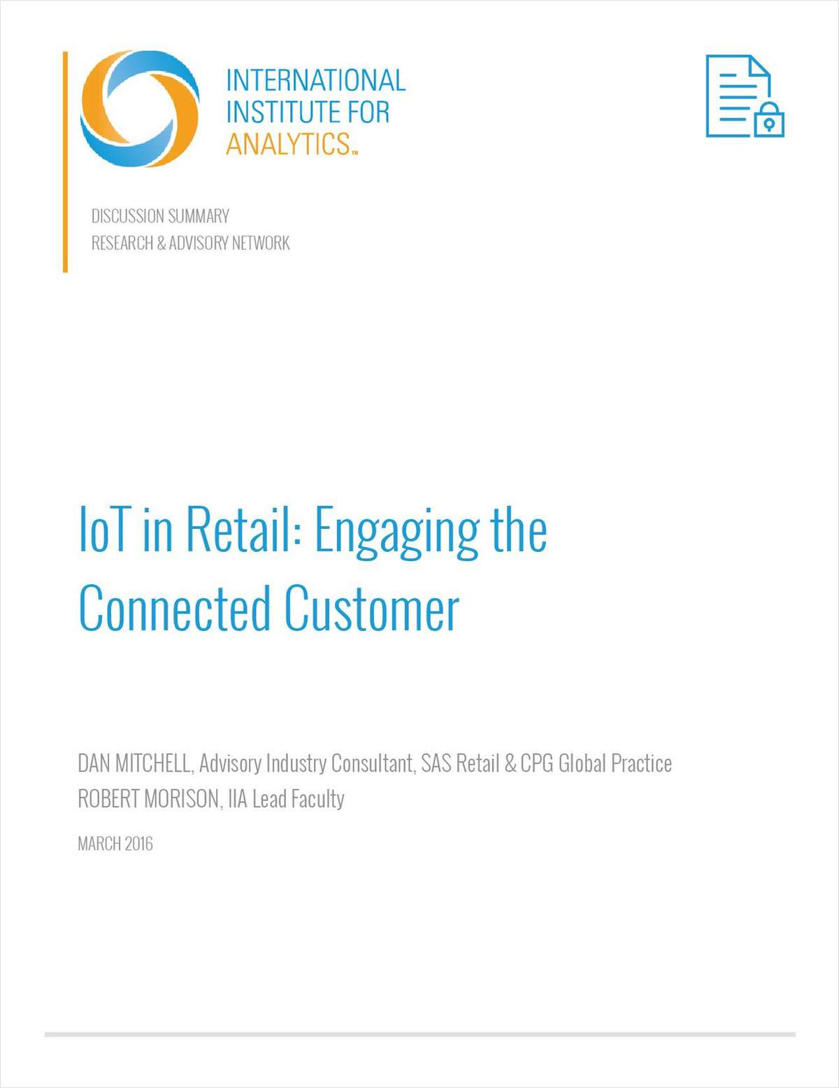 IIA: IoT in Retail: Engaging the Connected Customer
