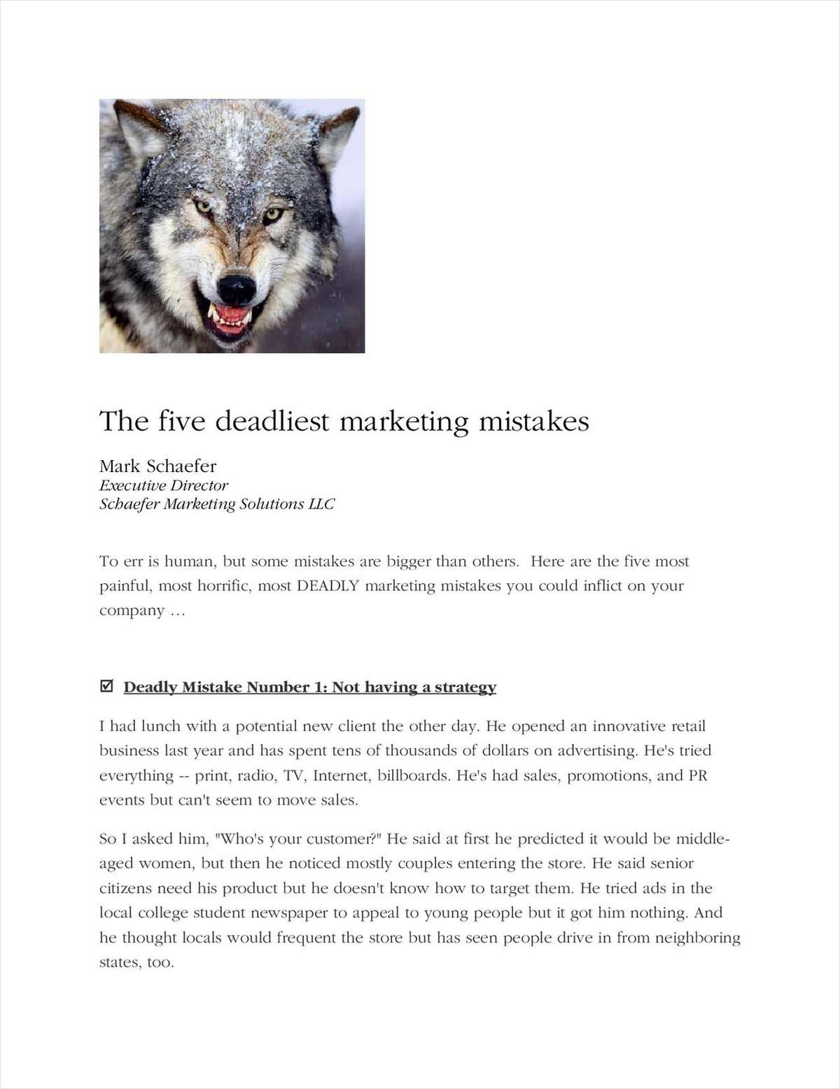 The 5 Deadliest Marketing Mistakes