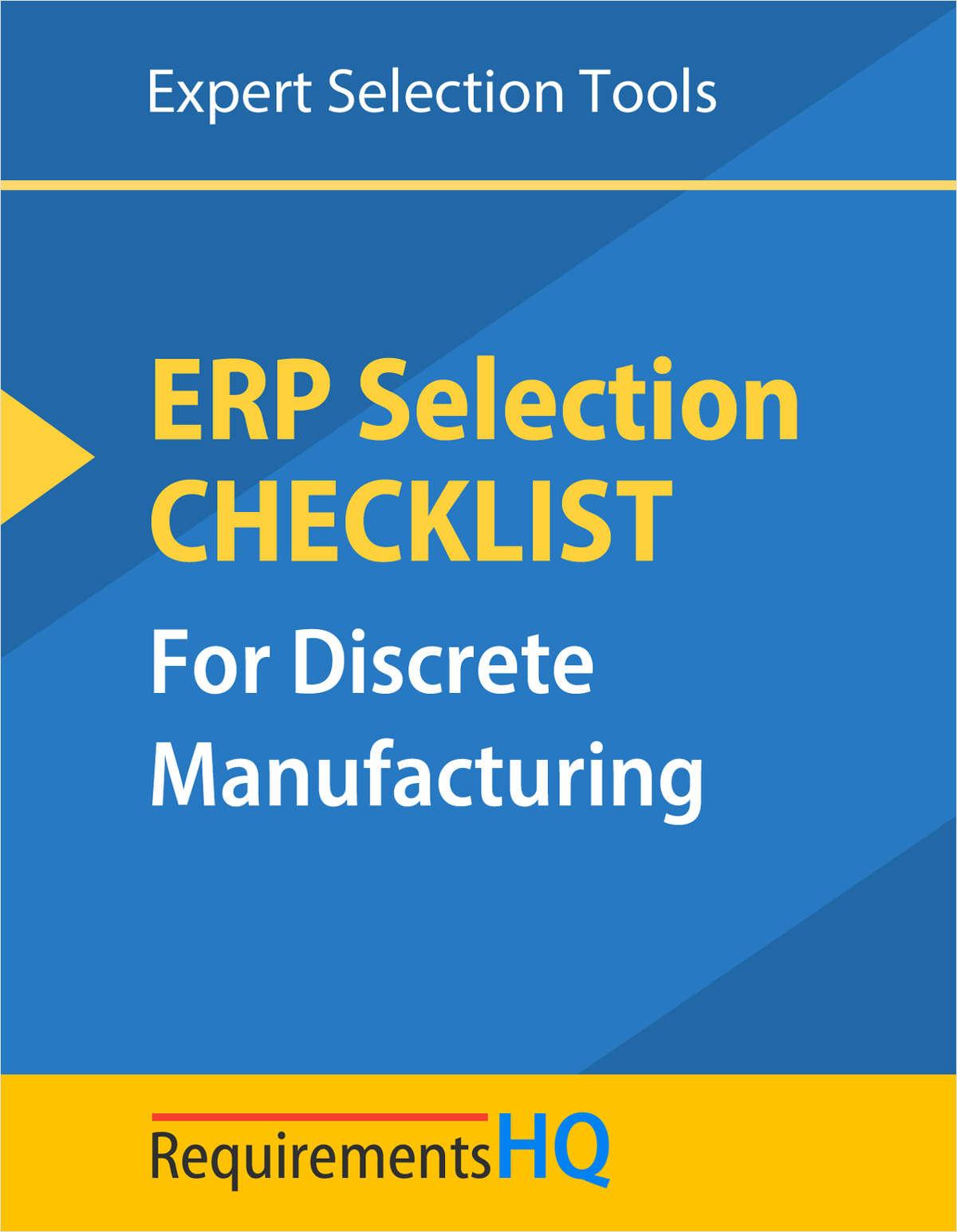Discrete Manufacturing ERP Selection Checklist 2020