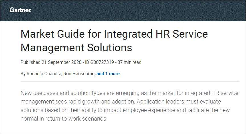 Market Guide for Integrated HR Service Management Solutions