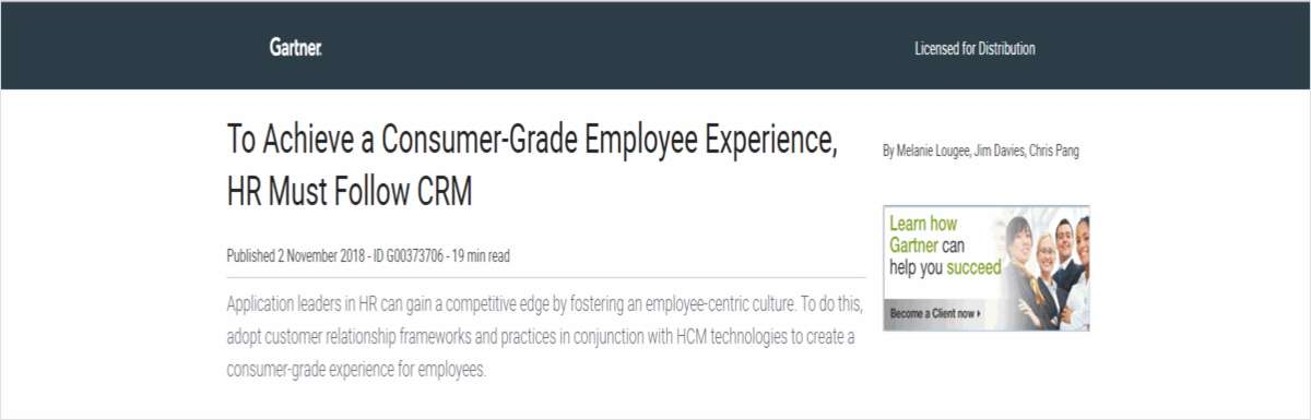 To Achieve a Consumer-Grade Employee Experience, HR Must Follow CRM