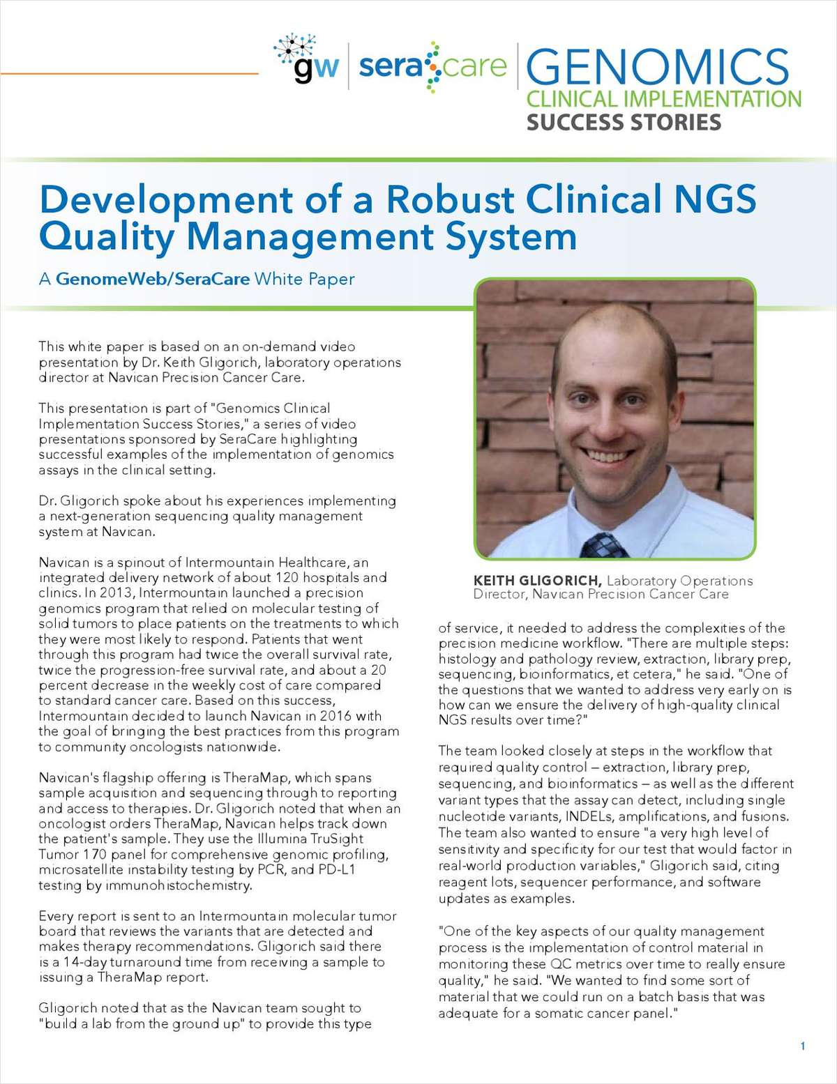 Genomics Clinical Implementation Success Stories: Development of a Robust Clinical NGS Quality Management System White Paper
