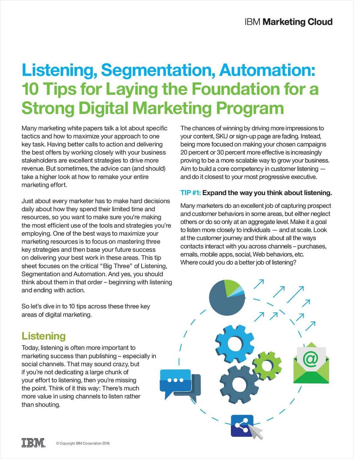 Listening, Segmentation, Automation: 10 Tips for a Stronger Digital Marketing Program