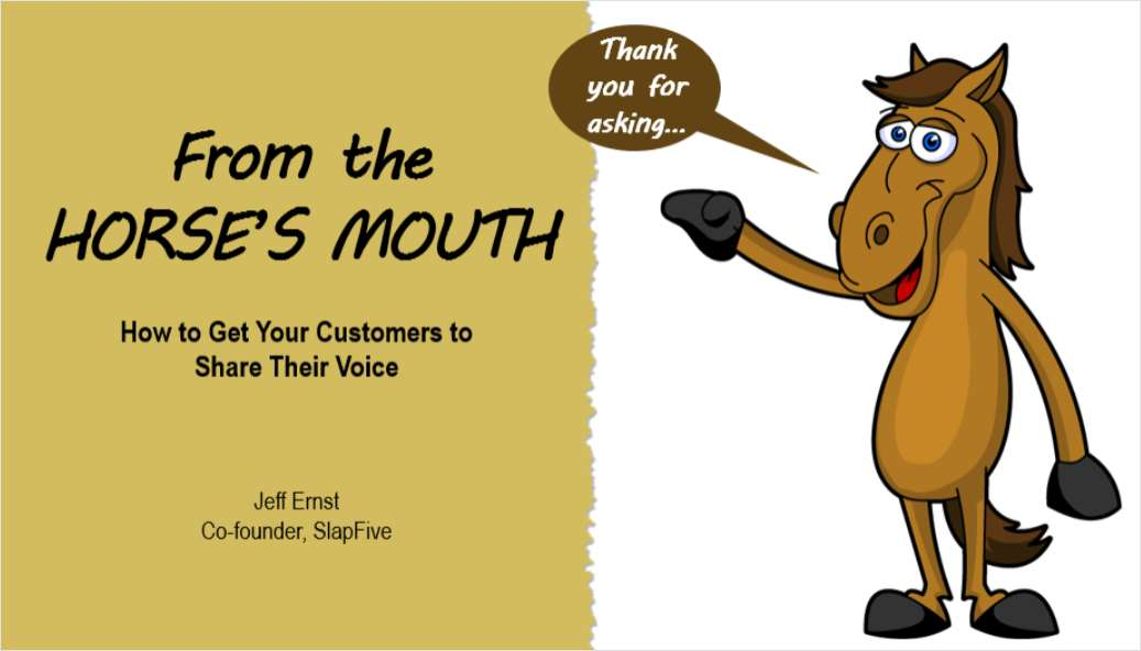 From the Horse's Mouth:  How to Get Your Customers to Share Their Voice