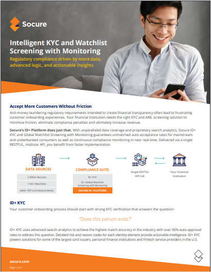 Intelligent KYC and Watchlist Screening with Monitoring