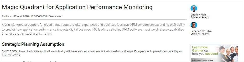 2020 Magic Quadrant for Application Performance Monitoring