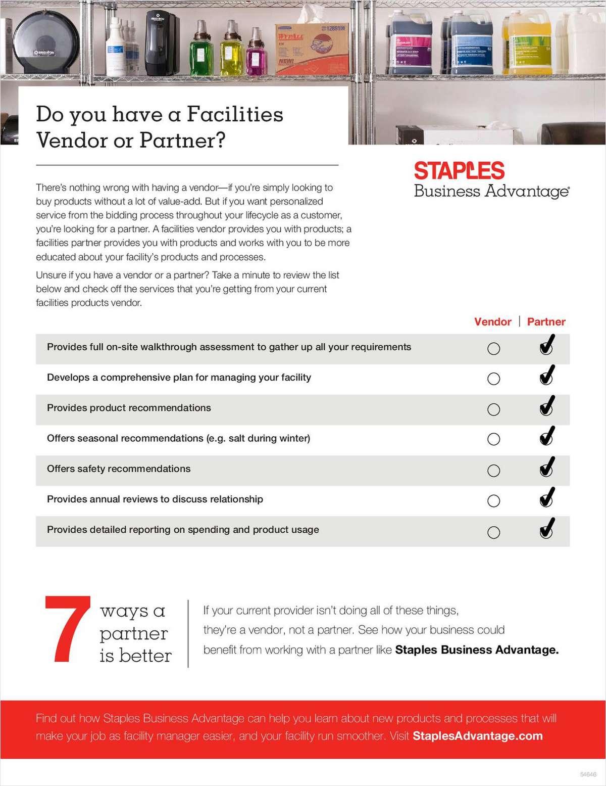 Do You Have a Facilities Vendor or Partner?