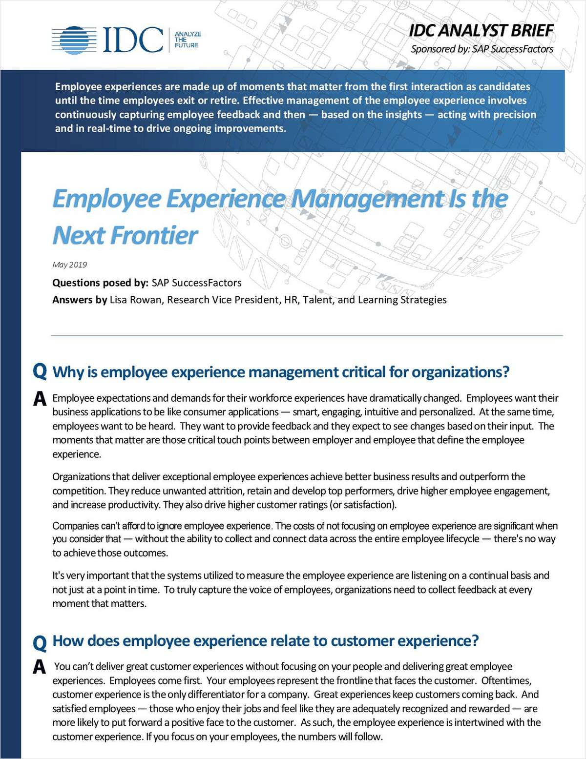 IDC Brief: Employee Experience Management Is The Next Frontier